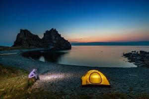 Tent is close lake shore